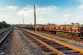pic of ferrous metal  - Rail freight car view of the general plan