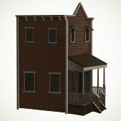 Wooden Two-story House For The Town In The Wild West