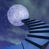 stock photo of reach the stars  - Stairs leading to the moon in dark universe - JPG