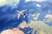 White Civil Airplane Over The Atlantic Ocean Flying From Europe To The Usa poster