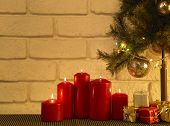 foto of sad christmas  - candle light under the christmas tree - JPG