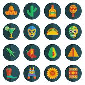 pic of pinata  - set of mexican themed round icon decorations - JPG