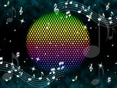Постер, плакат: Music Ball Background Means Rainbow And Singers