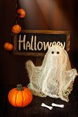 stock photo of jack-o-laterns-jack-o-latern  - Halloween pumpkin and scary ghost at night - JPG