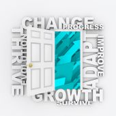 pic of evolve  - An open door to blue arrows rising up surrounded by words like Change Adapt and Growth - JPG