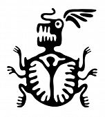 stock photo of bestiality  - black mite or beetle in native style - JPG