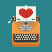 foto of typewriter  - Vintage typewriter and red heart on paper sheet eps10 vector format - JPG