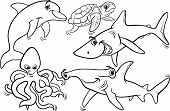 stock photo of dauphin  - Black and White Cartoon Illustrations of Funny Sea Life Animals and Fish Mascot Characters Group for Coloring Book - JPG