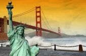 stock photo of golden gate bridge  - photo tourism concept san francisco and statue liberty - JPG