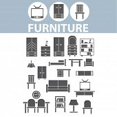 pic of shelving unit  - furniture icons set - JPG