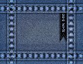 image of stitches  - Illustration of blue denim frame stitches and ribbon - JPG