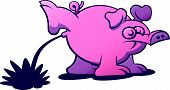 picture of disrespect  - Irreverent pink pig with long snout - JPG