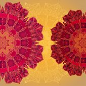 pic of macrame  - vector delicate red lace round mandala pattern - JPG