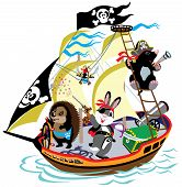 foto of mole  - cartoon pirate ship with mole captain and his team - JPG