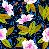 stock photo of jungle flowers  - Vector seamless pattern with tropical decor - JPG