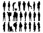 stock photo of ordinary woman  - big set of black silhouettes of women of different ages standing in different postures face profile and back views - JPG