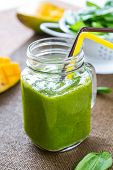 picture of mango  - Mango with Banana and Spinach smoothie by fresh ingredients - JPG
