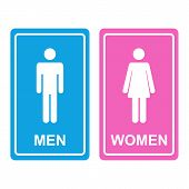 pic of female toilet  - Male and female white icons denoting toilet and restroom facilities for both men and women with white male and female silhouetted figures on a blue and pink stickers - JPG