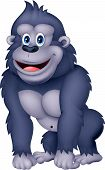 foto of gorilla  - illustration of Happy gorilla cartoon isolated on white