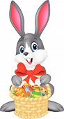 picture of ester  - illustration of Easter bunny with bucket of eggs vector - JPG