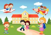 stock photo of playtime  - illustration of Happy cartoon school children isolated on white - JPG