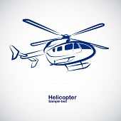 stock photo of helicopter  - helicopter symbol in perspective  - JPG