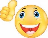 foto of emoticons  - illustration of Happy smiley emoticon giving thumbs up - JPG