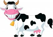 stock photo of moo-cow  - illustration of Happy cartoon cow isolated on white - JPG