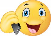 picture of emoticons  - illustration of Emoticon smiley talking on cell phone - JPG