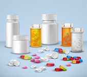 image of plastic bottle  - Pills tablets and medicines in plastic bottle packages decorative icons set vector illustration - JPG