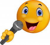 pic of serenade  - illustration of Emoticon singing isolated on white - JPG