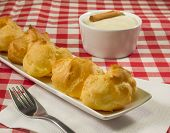 pic of cream puff  - The filling is a sweet little puffs composed of a shell of choux pastry filled with cream - JPG