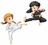 picture of karate kid  - Illustration of girls doing karate - JPG