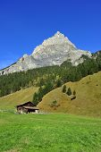 foto of chalet  - A Swiss chalet high in the alps in green fields with a mountain in the background - JPG