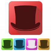 foto of cylinder  - Set Flat icons of black gentleman hat cylinder - JPG