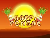 picture of pongal  - South Indian harvesting festival celebrations poster or banner design with traditional mud pot - JPG