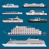 stock photo of passenger ship  - Passenger vessels infographic set with cruise ship and cruise river boats - JPG