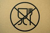 stock photo of unsafe  - Unsafe materials for food contact warning sign - JPG