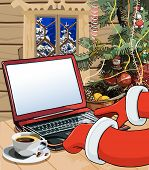 image of letters to santa claus  - cartoon Santa Claus writes a letter on the laptop in a wooden house - JPG