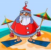 stock photo of flipper  - Funny cartoon Santa Claus wearing flippers on the beach - JPG