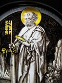 Medieval stained glass window panel of St Peter poster