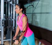 image of pulley  - Standing cable crossover fly pulley flies woman workout at gym - JPG