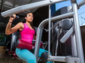 pic of lats  - Lat Lateral dorsal pulldown machine upper back exercises woman at gym workout - JPG