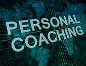 stock photo of self assessment  - Personal Coaching text concept on green digital world map background - JPG
