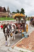 stock photo of carriage horse  - Horse with drawn carriage In Lampang - JPG