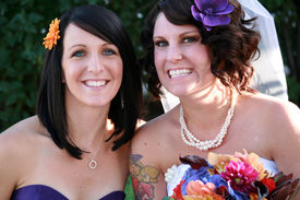 picture of matron  - Best friends bride and her maid of honor at the wedding - JPG