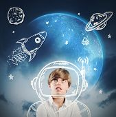 stock photo of reach the stars  - Child daydreams and plays to be astronaut - JPG