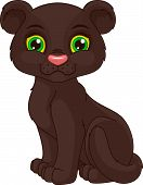 pic of panther  - Cute black panther cub cartoon on a white background - JPG