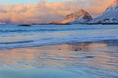 stock photo of lofoten  - Sunrise in Haukland beach in Lofoten - JPG
