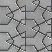 foto of paving  - Gray Paving Slabs Built of Crossed Pieces a Various Shapes - JPG